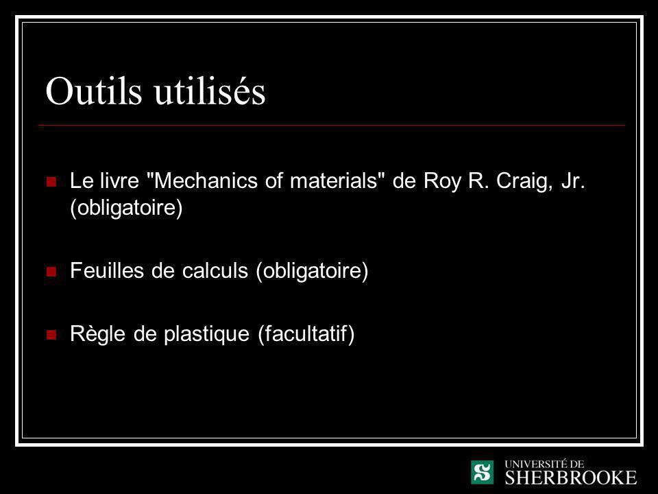 Outils utilisés Le livre Mechanics of materials de Roy R. Craig, Jr. (obligatoire) Feuilles de calculs (obligatoire)