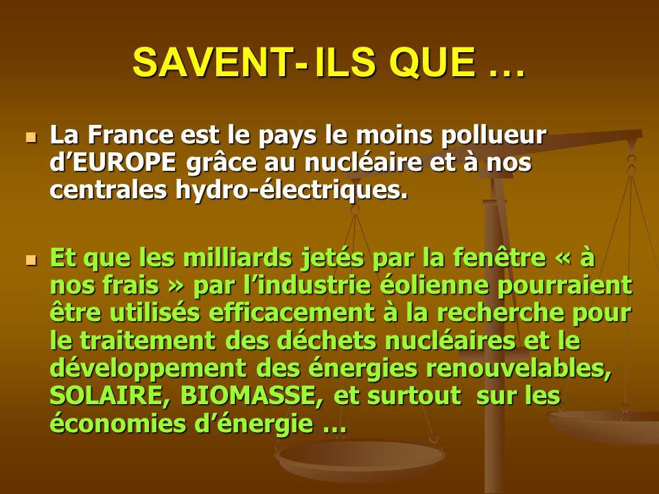SAVENT- ILS QUE … La France est le pays le moins pollueur d'EUROPE grâce au nucléaire et à nos centrales hydro-électriques.