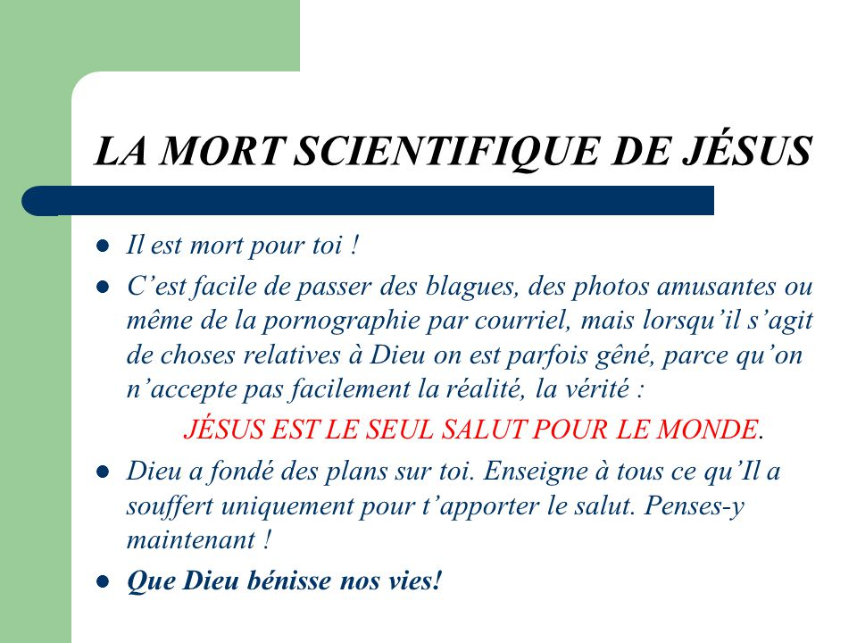 LA MORT SCIENTIFIQUE DE JÉSUS