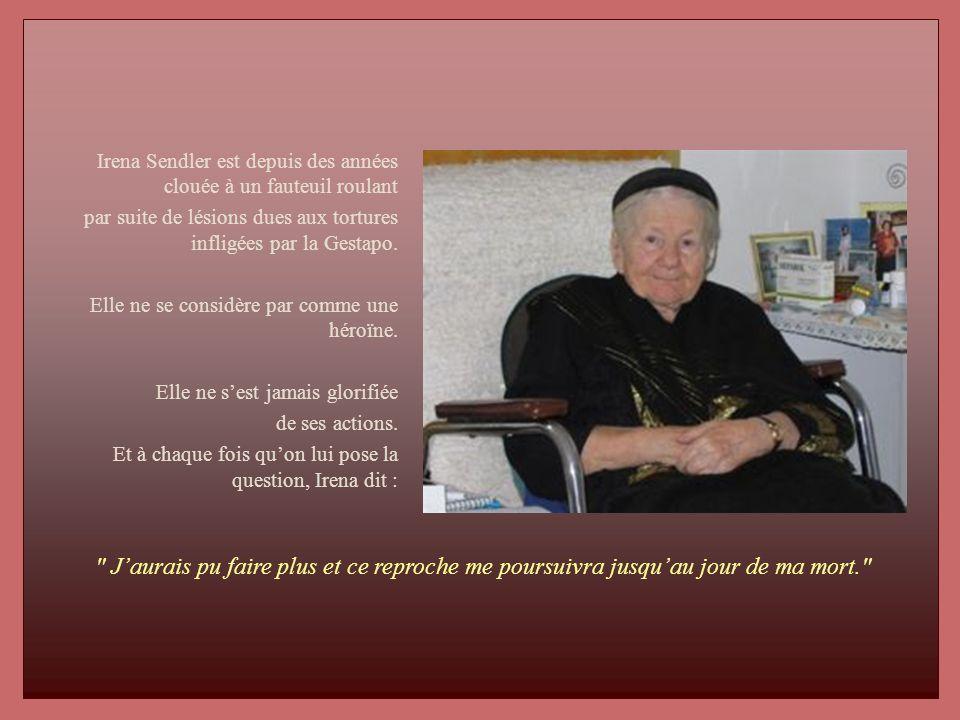 Irena Sendler est depuis des années clouée à un fauteuil roulant