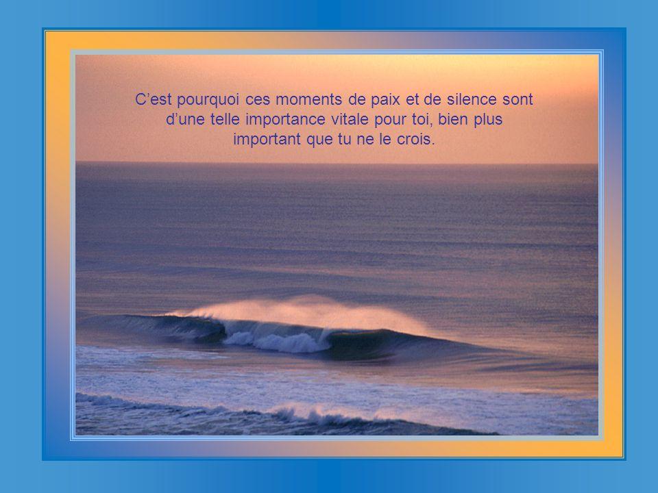 C'est pourquoi ces moments de paix et de silence sont d'une telle importance vitale pour toi, bien plus important que tu ne le crois.