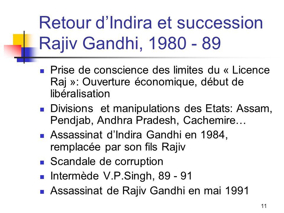Retour d'Indira et succession Rajiv Gandhi, 1980 - 89