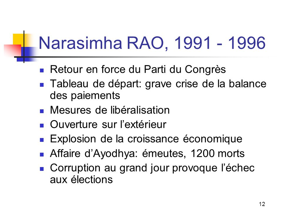 Narasimha RAO, 1991 - 1996 Retour en force du Parti du Congrès