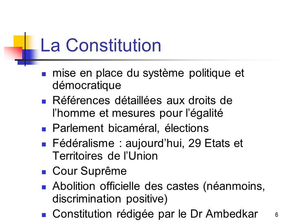 La Constitution mise en place du système politique et démocratique
