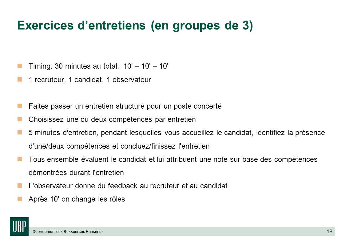 Exercices d'entretiens (en groupes de 3)