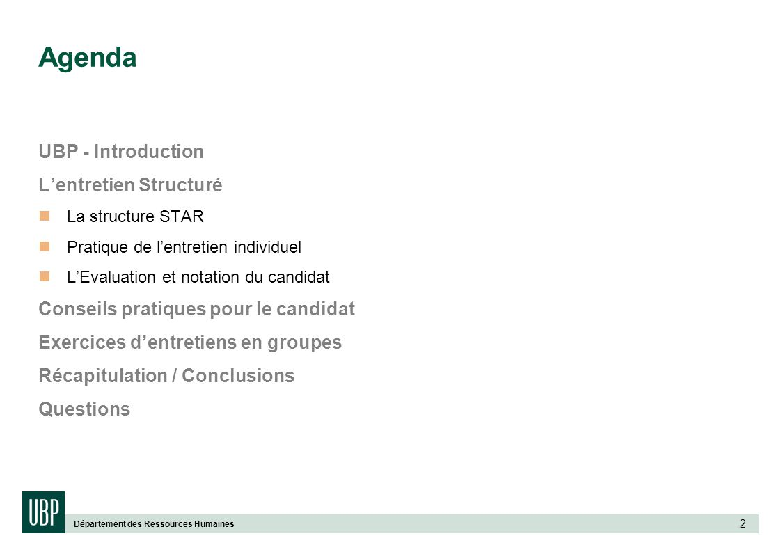 Agenda UBP - Introduction L'entretien Structuré