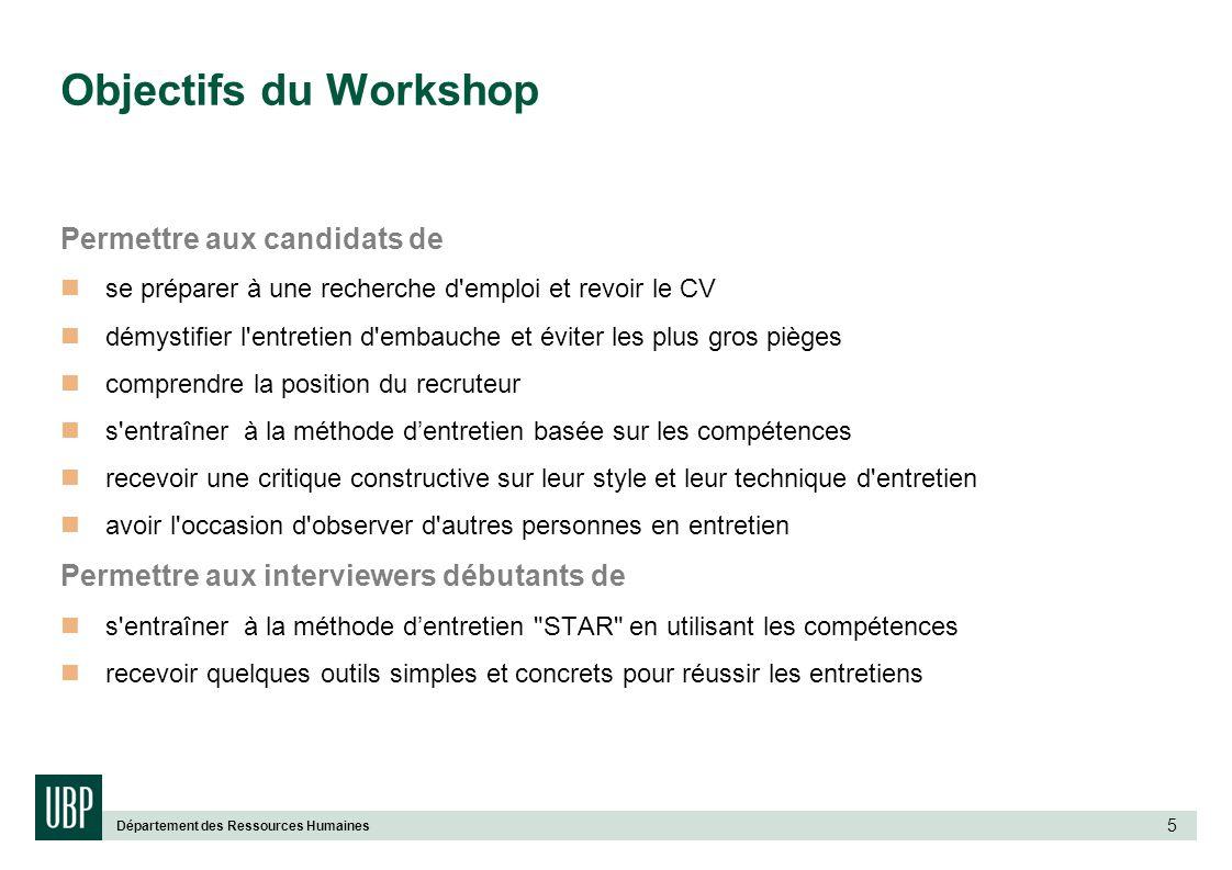 Objectifs du Workshop Permettre aux candidats de