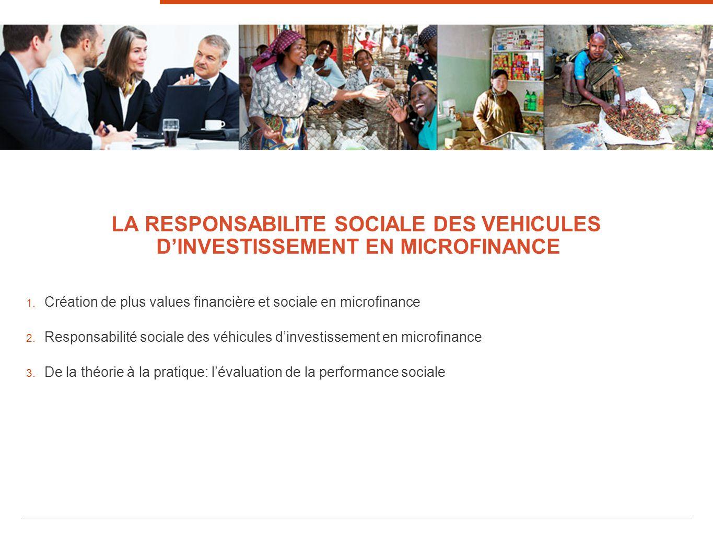 Création de plus values financière et sociale en microfinance