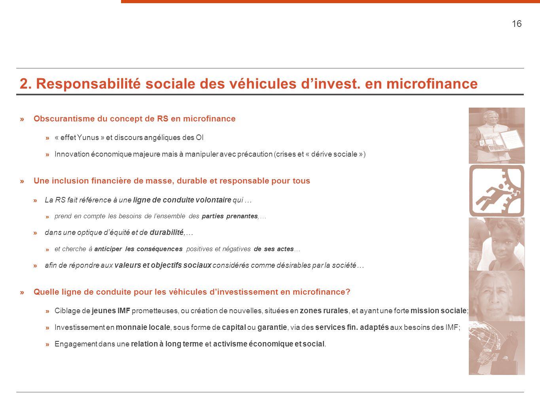 2. Responsabilité sociale des véhicules d'invest. en microfinance