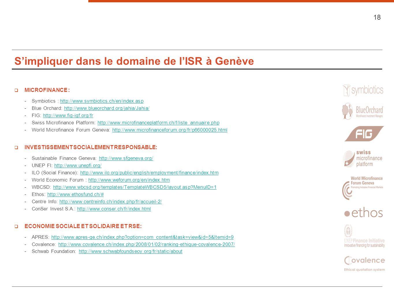 S'impliquer dans le domaine de l'ISR à Genève