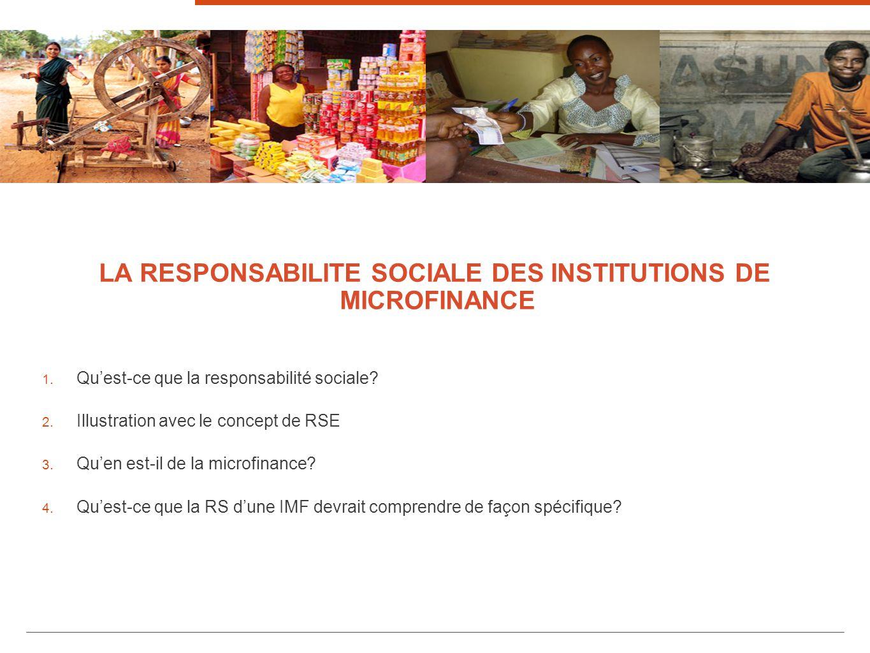 LA RESPONSABILITE SOCIALE DES INSTITUTIONS DE MICROFINANCE