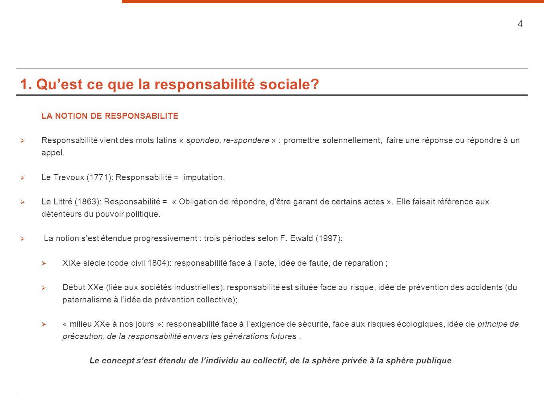 1. Qu'est ce que la responsabilité sociale