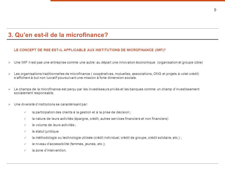 3. Qu'en est-il de la microfinance