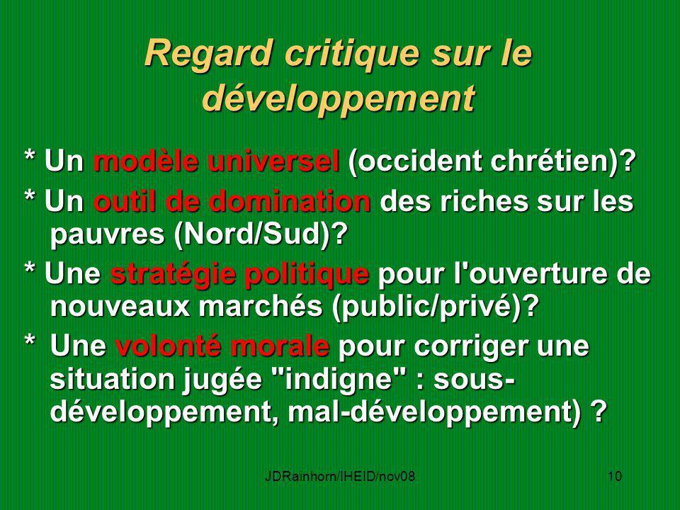 Regard critique sur le développement