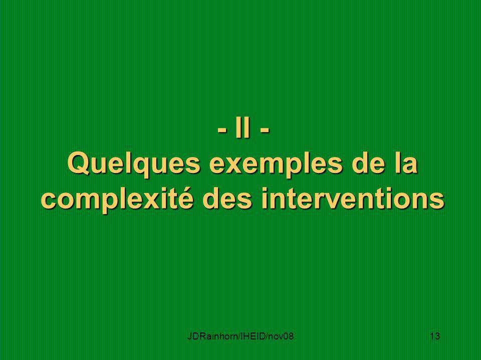 - II - Quelques exemples de la complexité des interventions