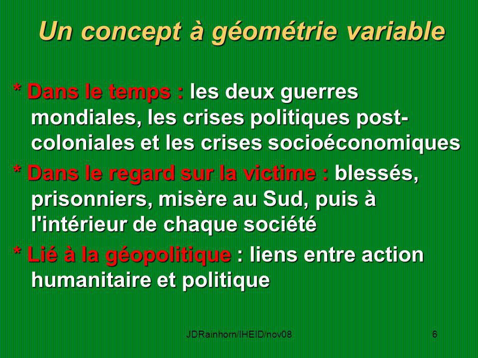 Un concept à géométrie variable