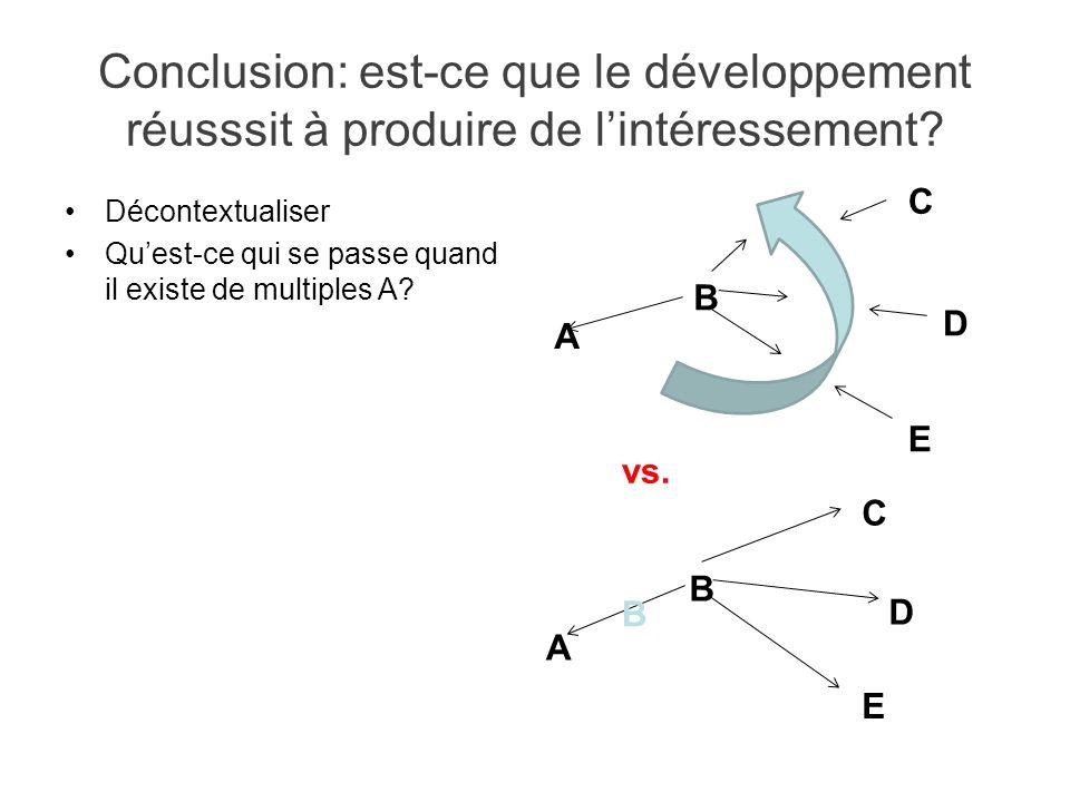 Conclusion: est-ce que le développement réusssit à produire de l'intéressement
