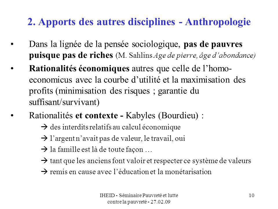 2. Apports des autres disciplines - Anthropologie