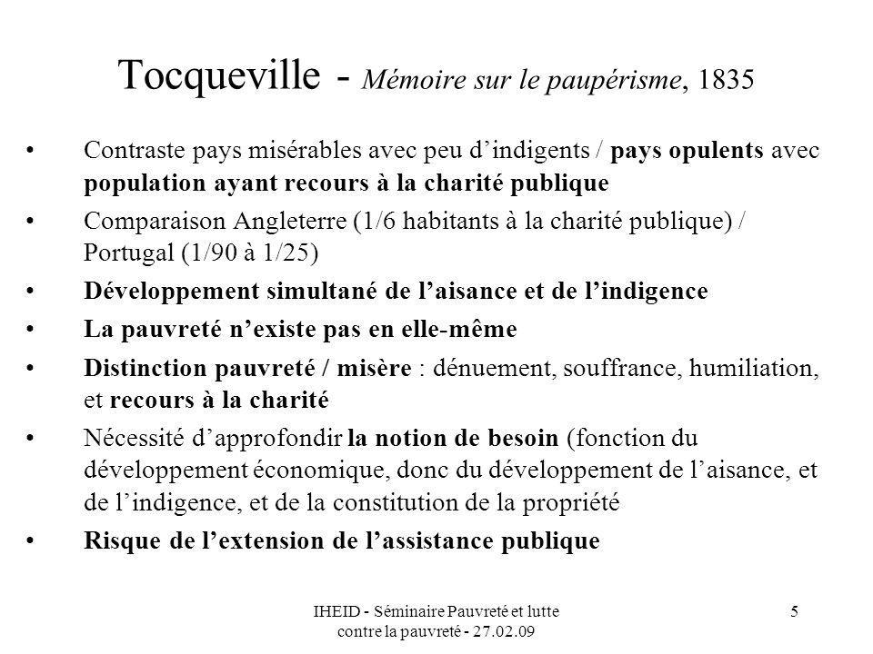 Tocqueville - Mémoire sur le paupérisme, 1835