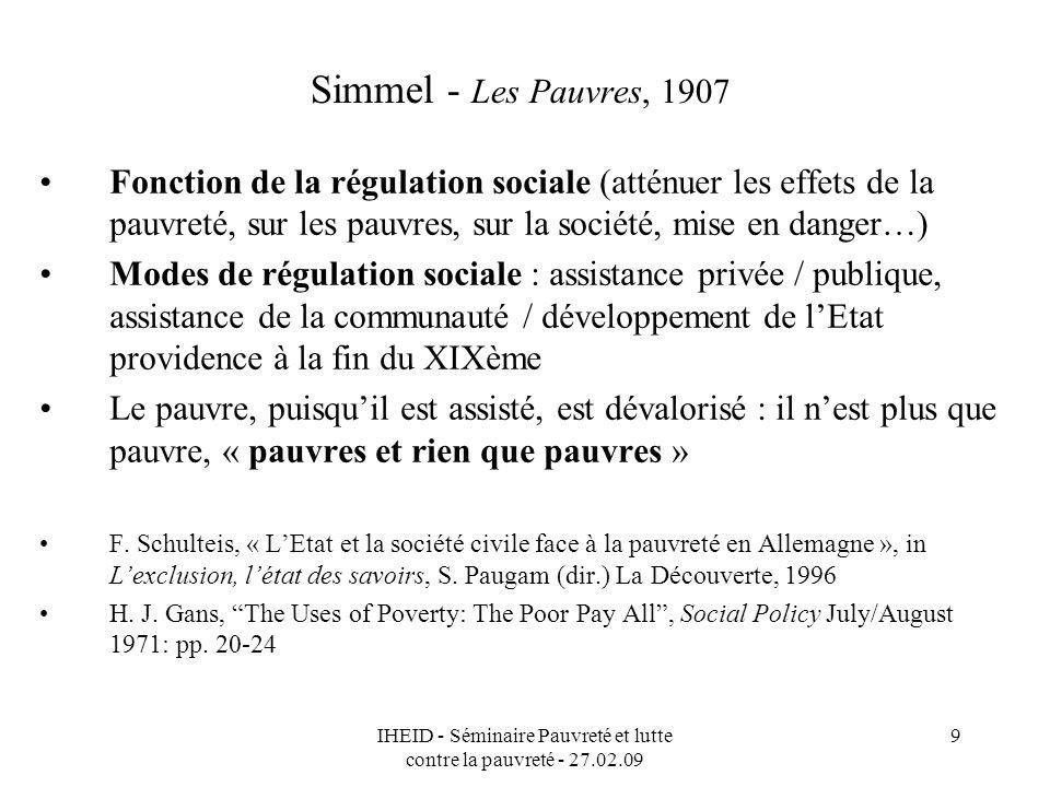 IHEID - Séminaire Pauvreté et lutte contre la pauvreté - 27.02.09