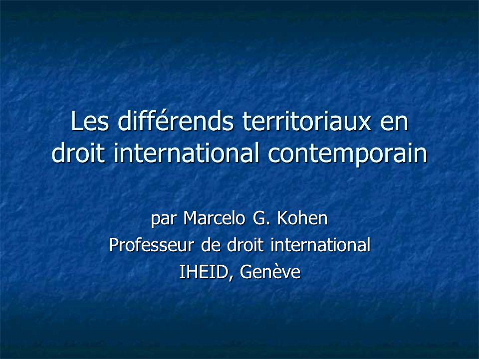 Les différends territoriaux en droit international contemporain