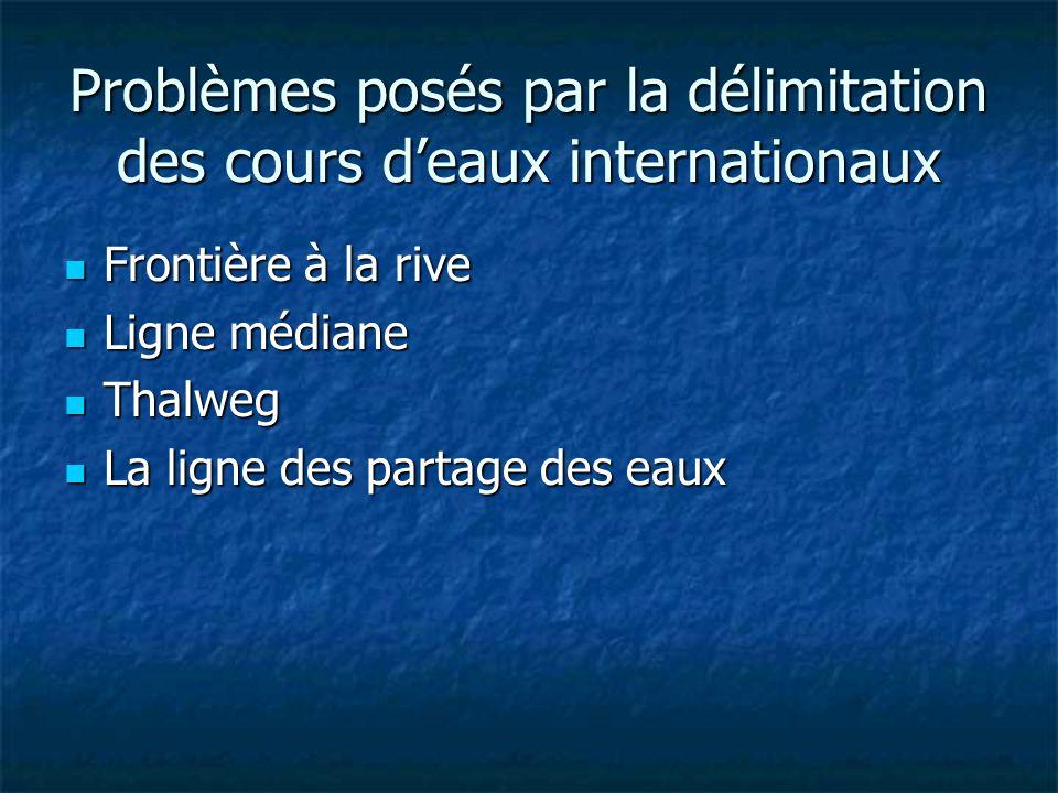 Problèmes posés par la délimitation des cours d'eaux internationaux