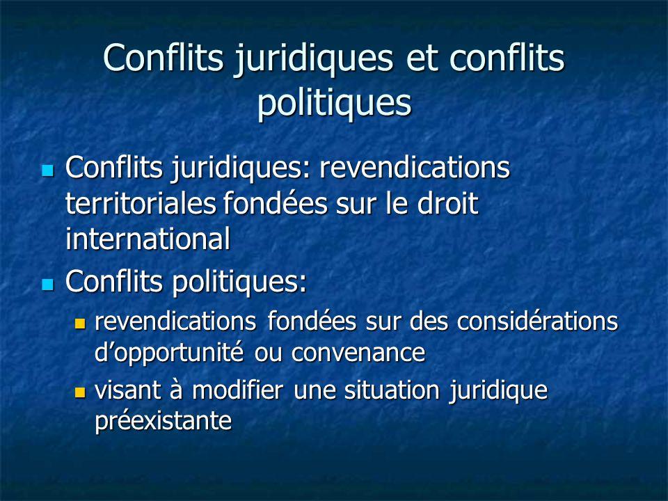 Conflits juridiques et conflits politiques