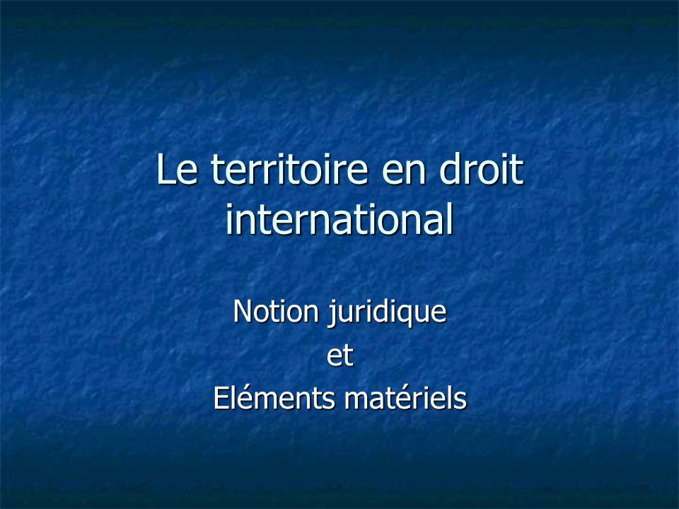 Le territoire en droit international