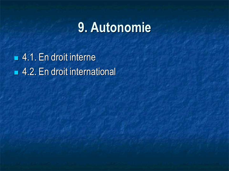 9. Autonomie 4.1. En droit interne 4.2. En droit international