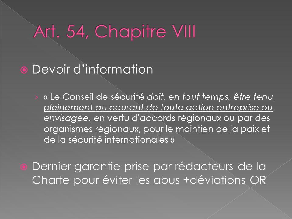 Art. 54, Chapitre VIII Devoir d'information