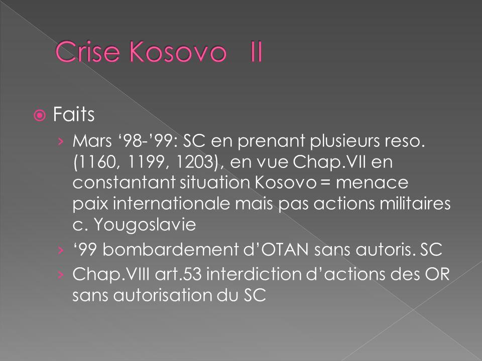 Crise Kosovo II Faits.