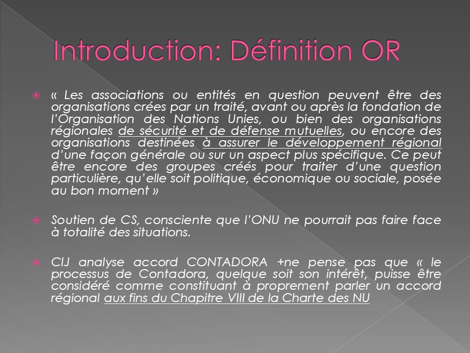 Introduction: Définition OR