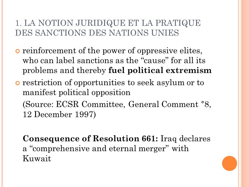 1. LA NOTION JURIDIQUE ET LA PRATIQUE DES SANCTIONS DES NATIONS UNIES