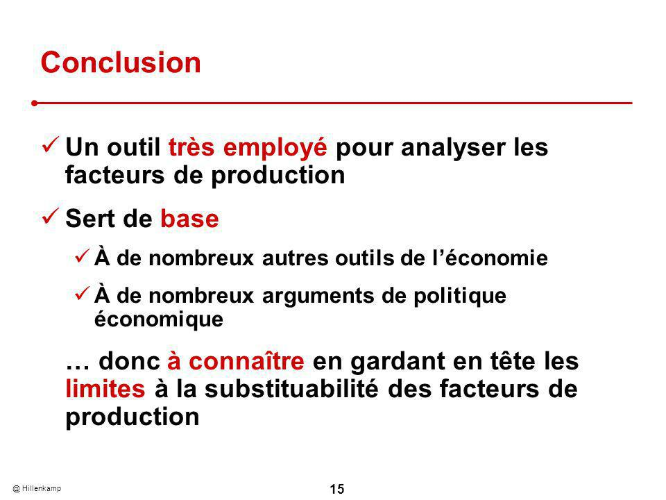 Conclusion Un outil très employé pour analyser les facteurs de production. Sert de base. À de nombreux autres outils de l'économie.