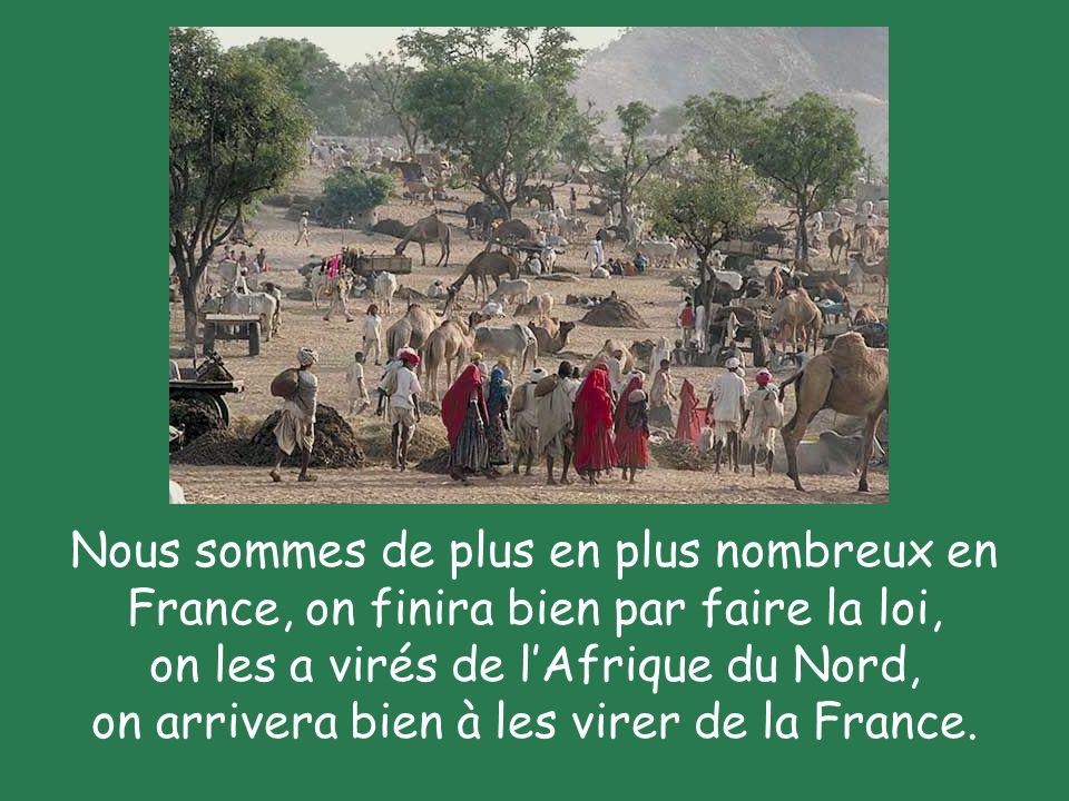 Nous sommes de plus en plus nombreux en France, on finira bien par faire la loi, on les a virés de l'Afrique du Nord, on arrivera bien à les virer de la France.