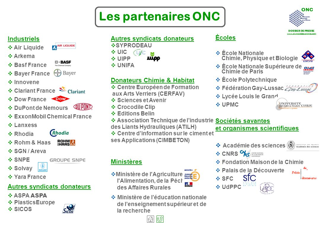 Les partenaires ONC Industriels. Air Liquide. Arkema. Basf France. Bayer France. Innovene. Clariant France.