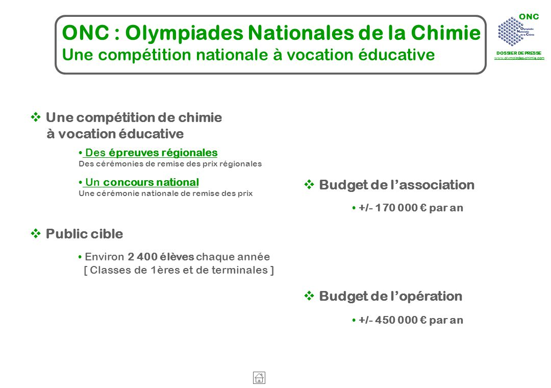 ONC : Olympiades Nationales de la Chimie