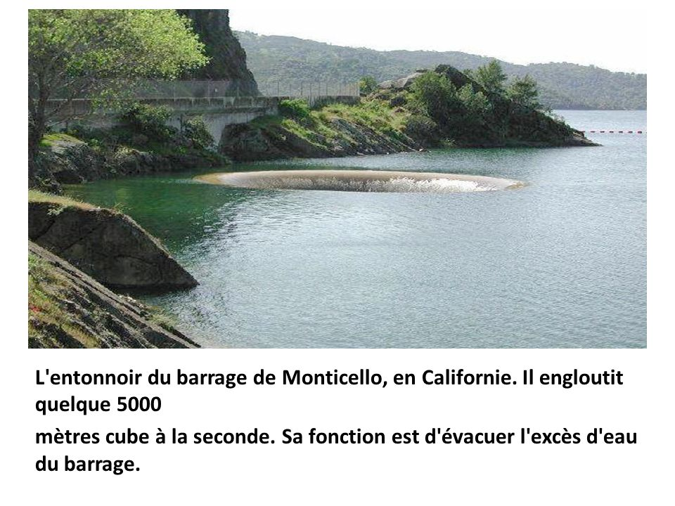 L entonnoir du barrage de Monticello, en Californie