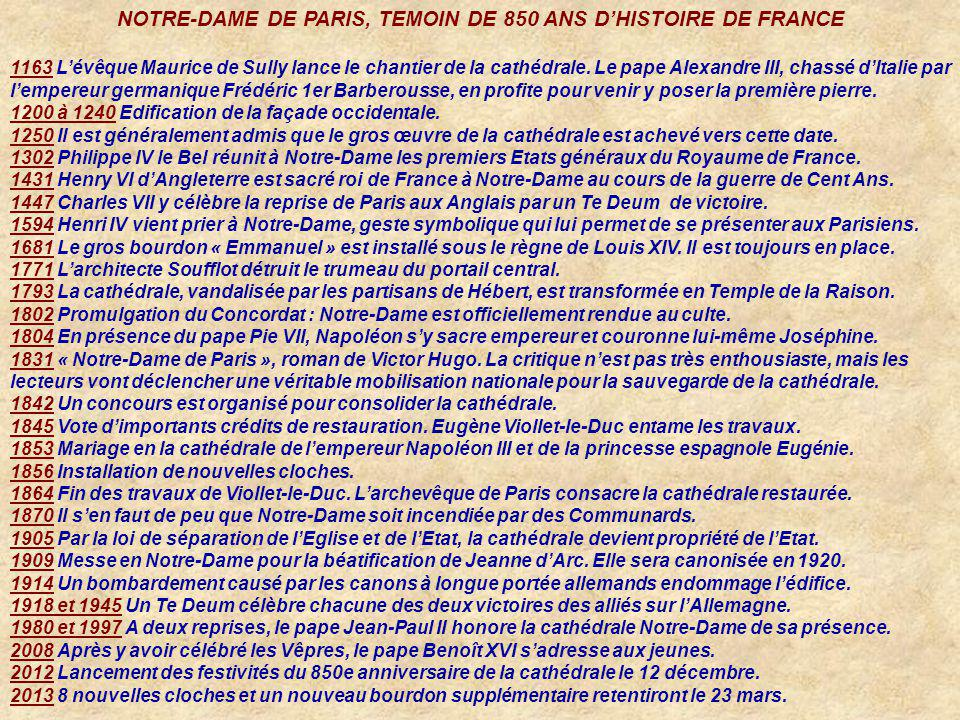 NOTRE-DAME DE PARIS, TEMOIN DE 850 ANS D'HISTOIRE DE FRANCE