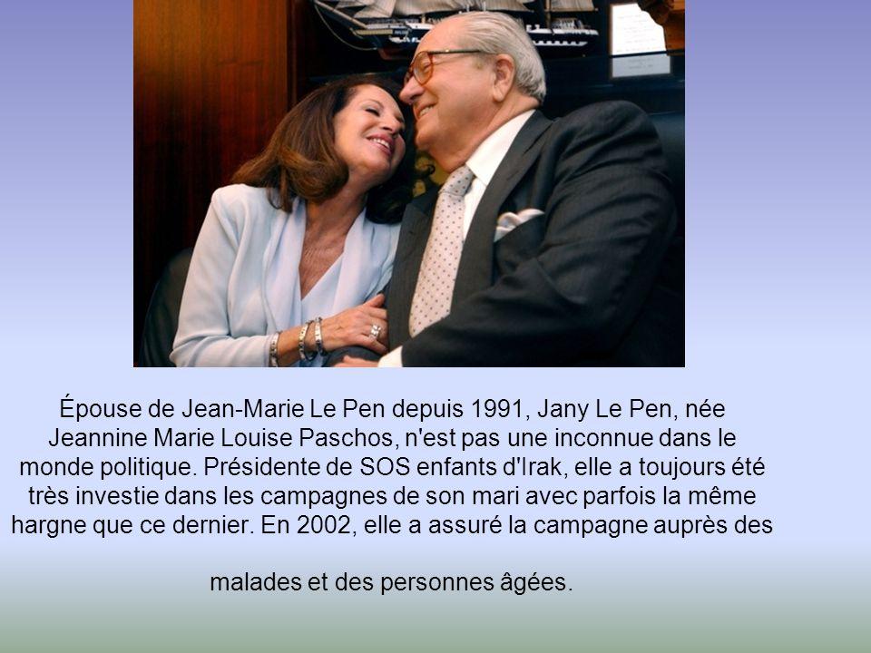 Épouse de Jean-Marie Le Pen depuis 1991, Jany Le Pen, née Jeannine Marie Louise Paschos, n est pas une inconnue dans le monde politique.