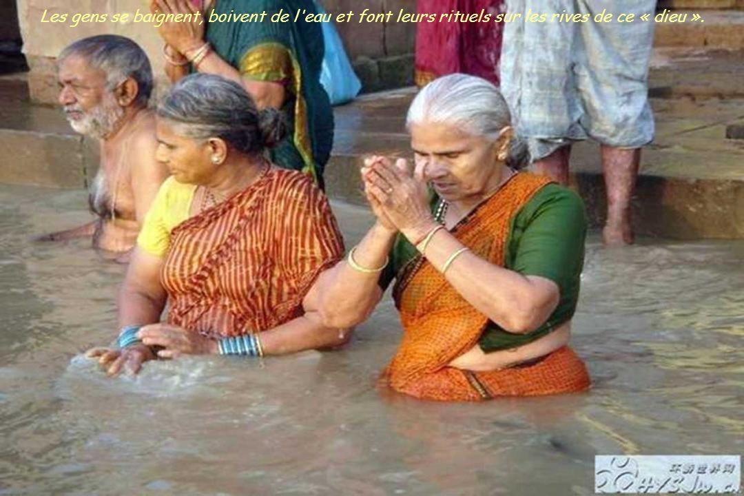 Les gens se baignent, boivent de l eau et font leurs rituels sur les rives de ce « dieu ».