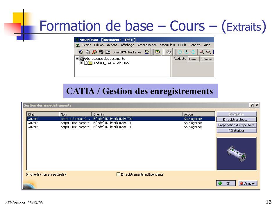Formation de base – Cours – (Extraits)