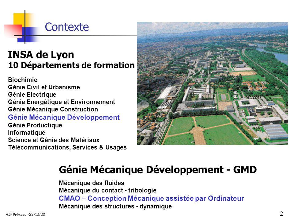 Contexte INSA de Lyon Génie Mécanique Développement - GMD