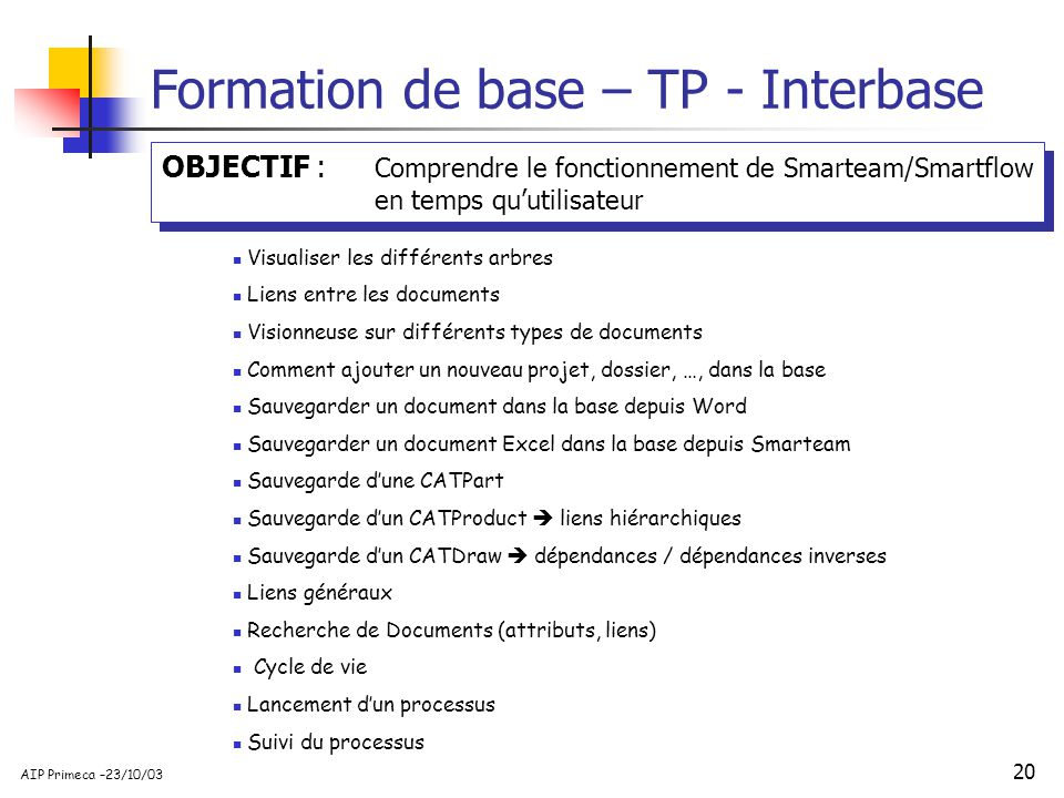 Formation de base – TP - Interbase