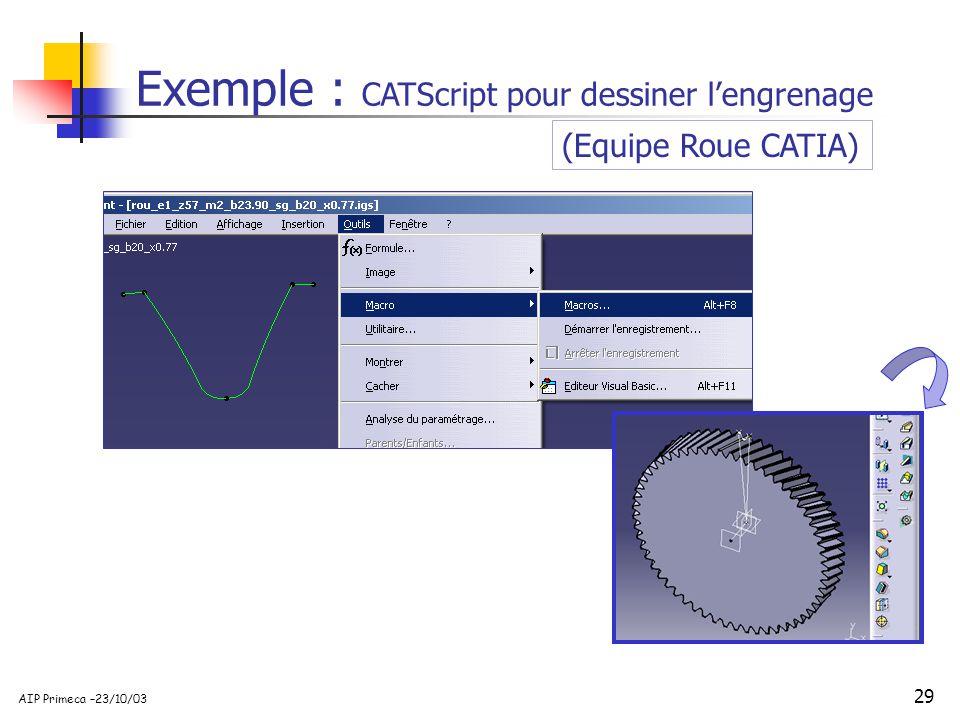 Exemple : CATScript pour dessiner l'engrenage