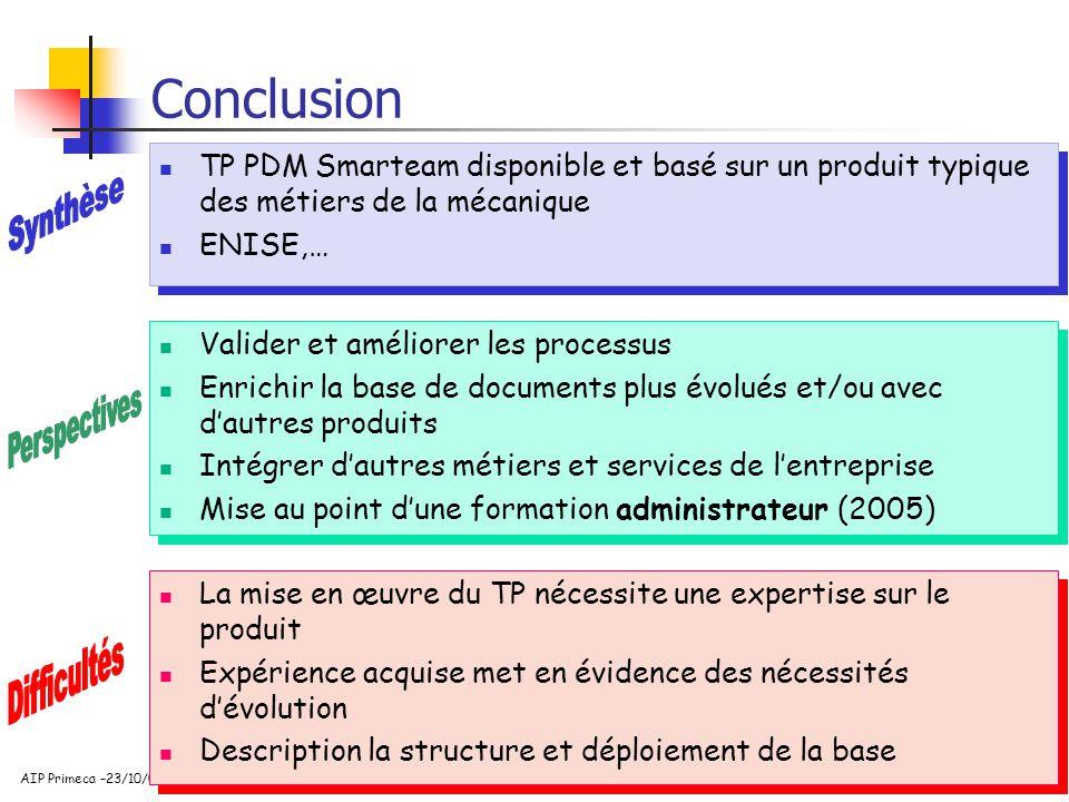 Conclusion TP PDM Smarteam disponible et basé sur un produit typique des métiers de la mécanique. ENISE,…