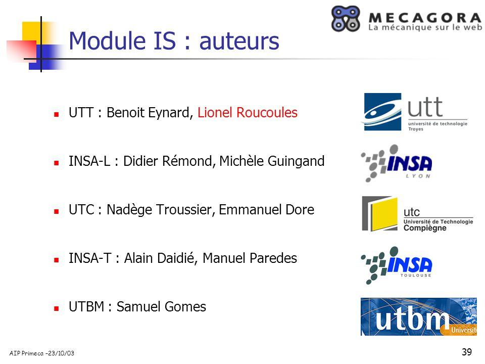 Module IS : auteurs UTT : Benoit Eynard, Lionel Roucoules