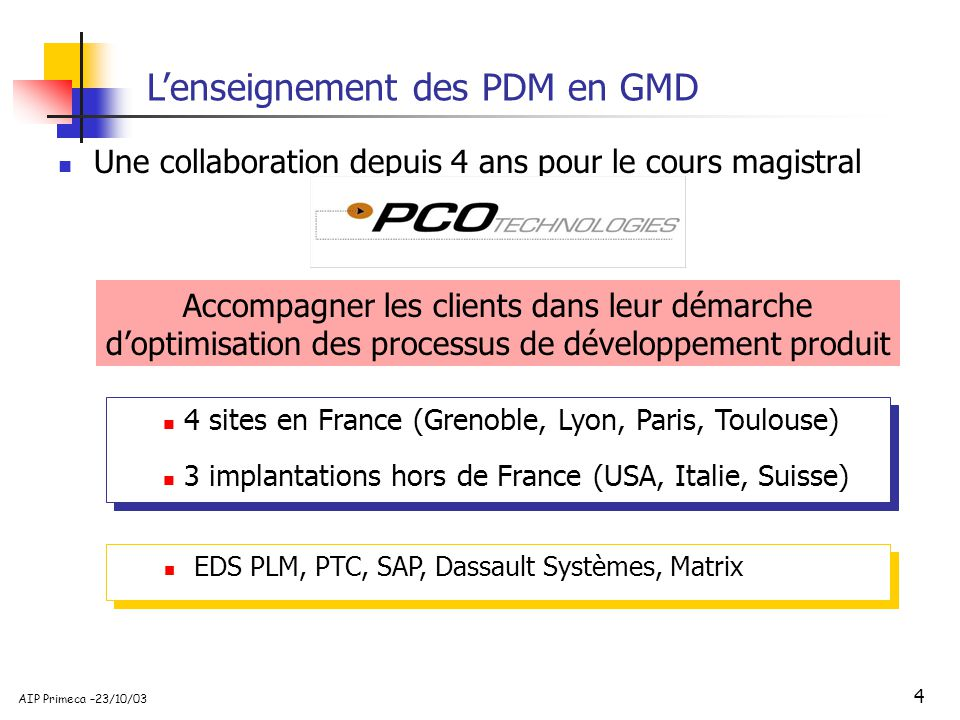L'enseignement des PDM en GMD