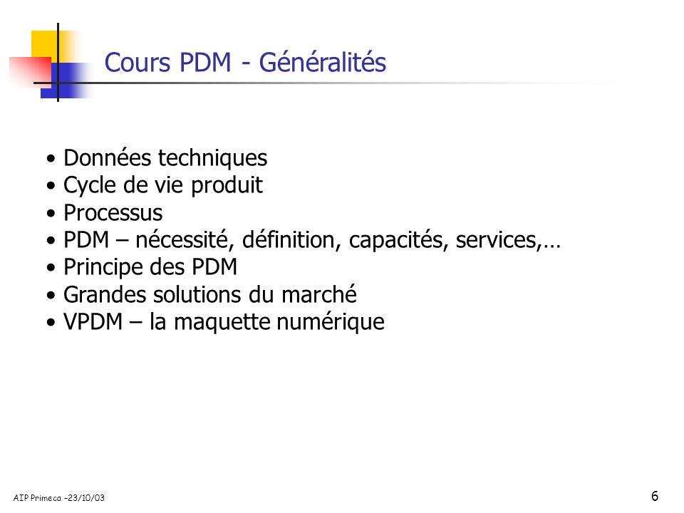 Cours PDM - Généralités