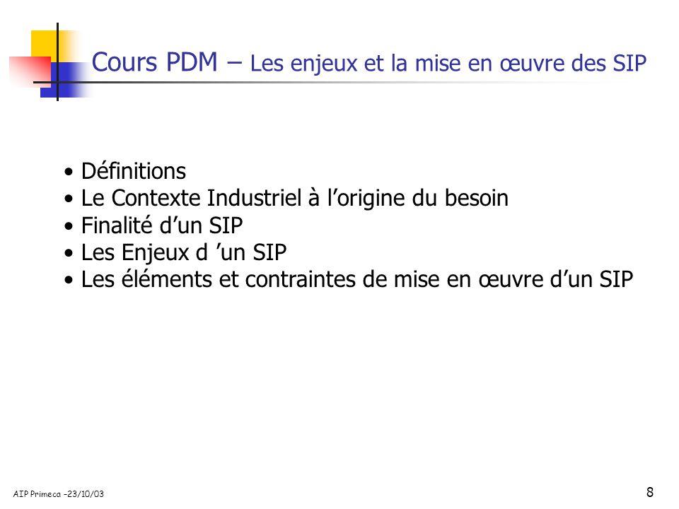 Cours PDM – Les enjeux et la mise en œuvre des SIP